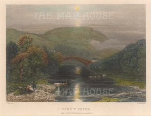 "Radclyffe: Pont Y Prydd, Vale of Taff. 1836. A hand coloured original antique steel engraving. 5"" x 4"". [WCTSp477]"
