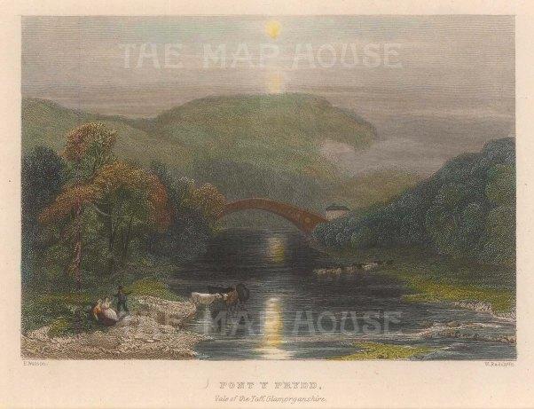 "Radclyffe: Pont Y Prydd, Vale of Taff. 1836. A hand coloured original antique steel engraving. 5"" x 4"". [WCTSp477]"