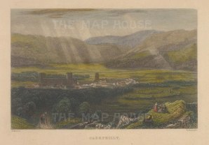 """Roscoe: Caerphilly. 1836. A hand coloured original antique steel engraving. 5"""" x 4"""". [WCTSp482]"""