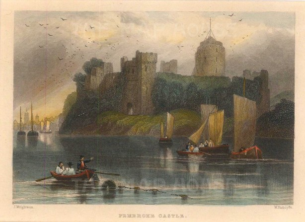 "Roscoe: Pembroke Castle.1836. A hand coloured original antique steel engraving. 5"" x 4"". [WCTSp484]"
