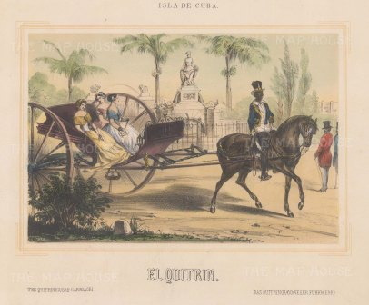 Havana, Cuba: Three ladies in an El Quitrin. The expensive style of carriage was favoured by the upper classes over the more practical Volante.
