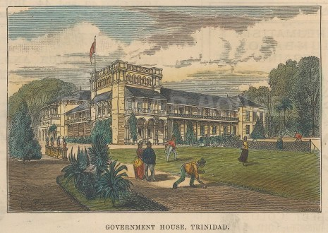 """Illustrated London News: Government House, Trinidad. 1888. A hand coloured original antique wood engraving. 14"""" x 10"""". [WINDp1173]"""