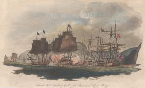 St Lucia Bay: The British fleet defeating the French fleet in 1778.