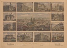 San Francisco: Panoramic view of the city with twelve vignettes of landmark buildings