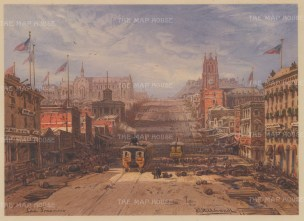 San Francisco: View up California Street to Nob Hill with Grace Church on the left, and the Parrott Building and St Mary's to the right. Drawn from life during Hildebrandt's 'round-the-world' voyage.