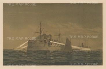 Naval Ships: The Alarm, Philadelphia and Vesuvius.