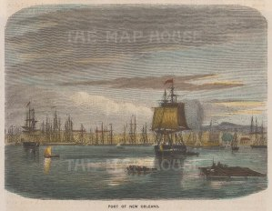 """Brown: New Orleans, Louisiana. 1885. A hand coloured original antique wood engraving. 7"""" x 5"""". [USAp4431]"""