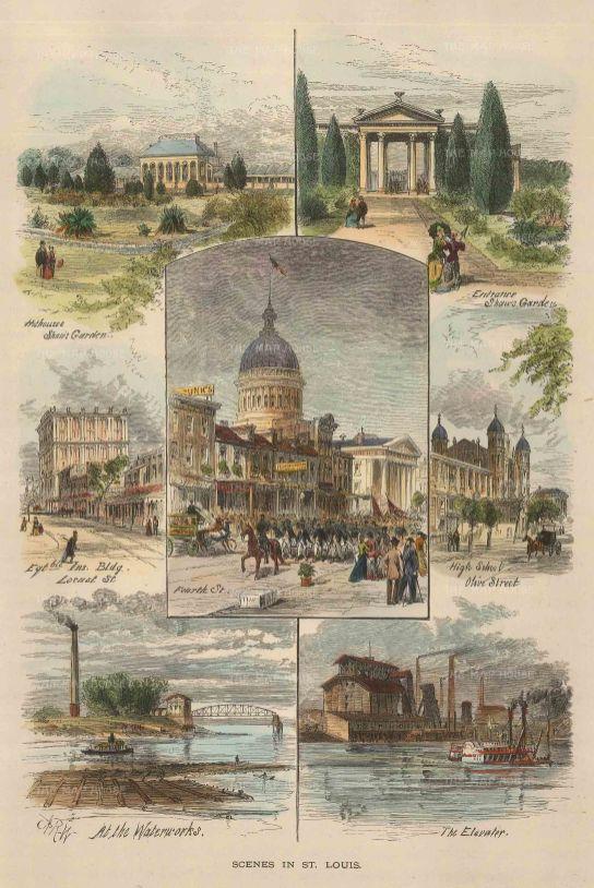 "Picturesque America: St Louis, Missouri. 1874. A hand coloured original antique wood engraving. 6"" x 9"". [USAp4507]"