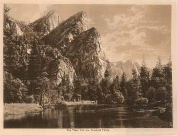 "Anonymous: Three Brothers Peak, Yosemite. c1910. An original antique photogravure. 8"" x 6"". [USAp4613]"