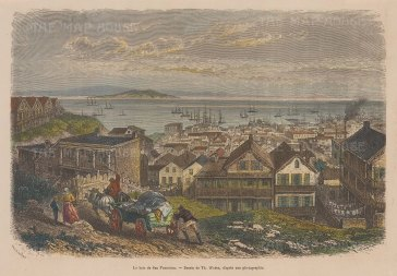 "Garnier: San Francisco. 1876. A hand coloured original antique wood engraving. 10"" x 7"". [USAp4658]"