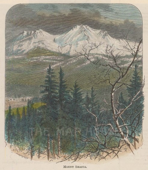 "Lovett: Mount Shasta. 1891. A hand coloured original antique wood engraving. 6"" x 6"". [USAp4690]"