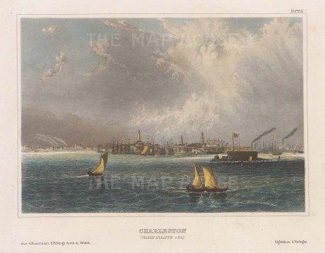 "Meyer: Charleston, South Carolina. 1836. A hand coloured original antique steel engraving. 6"" x 4"". [USAp4761]"