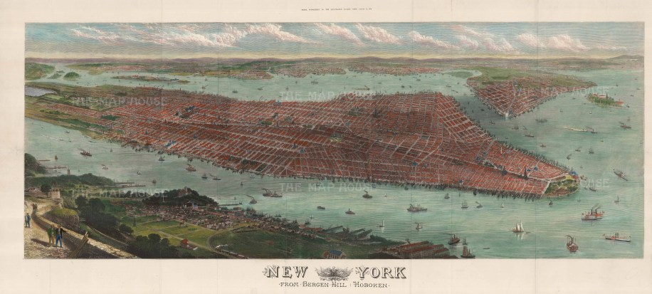 """Illustrated London News: New York City. 1876. A hand coloured original antique wood engraving. 45"""" x 22"""". [USAp4784]"""