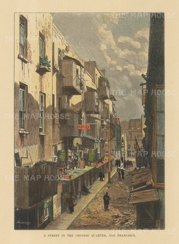 "Reclus: San Francisco. 1894. A hand coloured original antique wood engraving. 4"" x 6"". [USAp4871]"