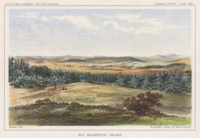 """U.S.P.R.R. Exp.: Big Blackfoot Valley, Idaho. 1857. A hand coloured original antique lithograph. 10"""" x 7"""".[USAp4891]"""