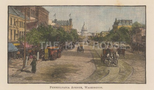 "Harper's Weekly: Pennsylvania Aveunue, Washigton D.C. c1892. A hand coloured original antique wood engraving. 6"" x 4"". [USAp4898]"