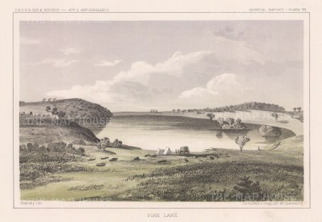 "U.S.P.R.R. Exp.: Pike Lake, Minnesota. 1857. An original colour antique lithograph. 10"" x 7"". [USAp4914]"
