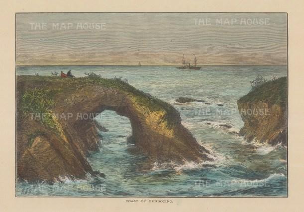 "Picturesque America: Mendocino. 1872. A hand coloured original antique wood engraving. 9"" x 6"". [USAp45931]"