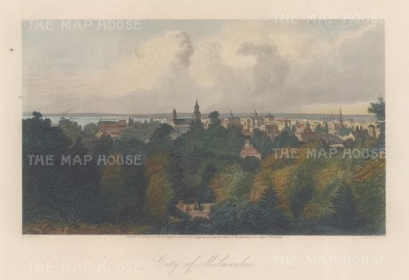 """Picturesque America: Milwaukee. Wisconsin. 1872. A hand coloured original antique steel engraving. 9"""" x 5"""". [USAp4950]"""