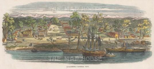 "Illustrated London News: Sacramento. 1850. A hand coloured original antique wood engraving. 9"" x 4"". [USAp4991]"