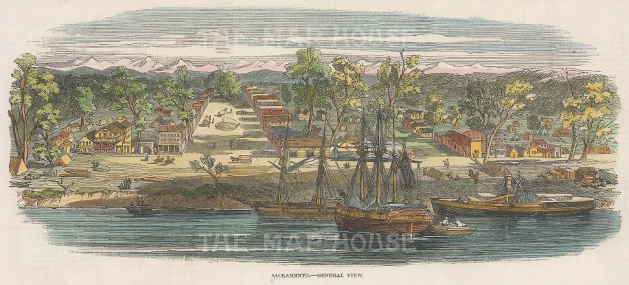 "Illustrated London News: Sacramento. 1850. A hand coloured original antique wood engraving. 9"" x 4"". [USAp4991]"
