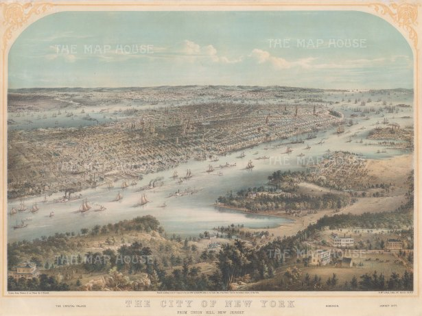 Panoramic view of New York from Union Hill (Union City): With Crystal Palace and Jersey City in the foreground. After the local artist John Bornet.