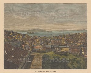 "Brown: San Francisco. 1876. A hand coloured original antique wood engraving. 6"" x 4"". [USAp5016]"