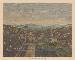 "Brown: San Francisco. 1876. A hand coloured original antique wood engraving. 6"" x 4"". [USAp5016]"