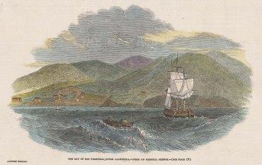 "Illustrated London News: San Francisco Bay. 1849. A hand coloured original antique wood engraving. 8"" x 6"". [USAp5017]"