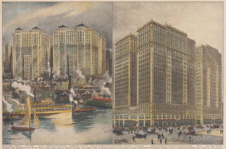 Manhattan: Views of Church Street from the Hudson (Hudson Terminus) and of Dey, Courtlandt and Fulton streets.