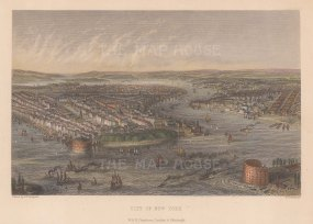 """Chambers: New York City. c1840. A hand-coloured original antique steel engraving. 9"""" x 6"""". [USAp5038]"""