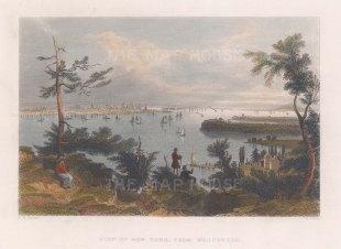 Manhattan: View of New York from Weehawken, New Jersey shore.