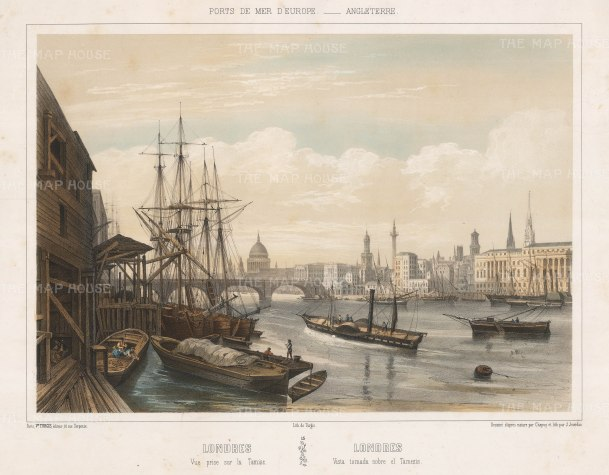 View from the southside Thames: Looking from London Bridge and St. Paul's to the Monument and Billingsgate