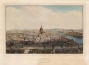 Bird's Eye View from St Bride's Steeple: Looking east from Fleet Street to St.Paul's.