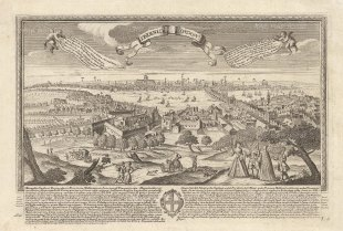 Pre-Fire view of London: Overlooking the Globe and Southwark: With key in the banners and description below in German and Latin with the coat of arms of London.