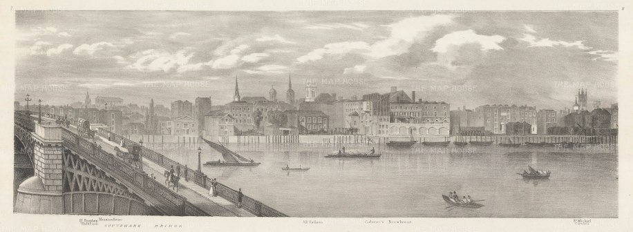 Thames view at Southwark Bridge: View on the Thames from Mansion House to St Michael Cornhill.