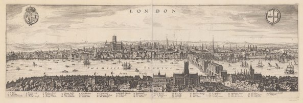 Panorama from the Palace of Whitehall to St Katherine's Church looking from Southwark. With key, royal arms and arms of the City. Based on views by Claes Visscher (1616) and John Norden (1600) of London prior to the Great Fire of 1666.