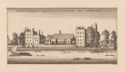 Lambeth: View over Thames of the seat of the archbishop of Canterbury rebuilt in 1663 after the Civil War.