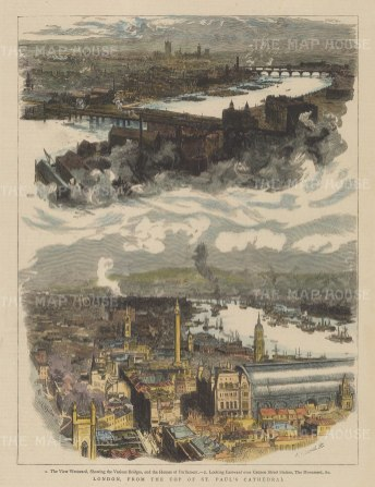 Bird's eye views from St. Paul's Cathedral: Looking westward over Parliament, and eastward over Cannon Street.