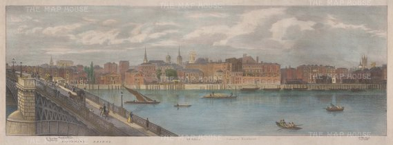 Thames View: Southwark Bridge to Cornhill. Illustration by Thomas Mann Baynes for Trench's proposed changes to the Embankment.