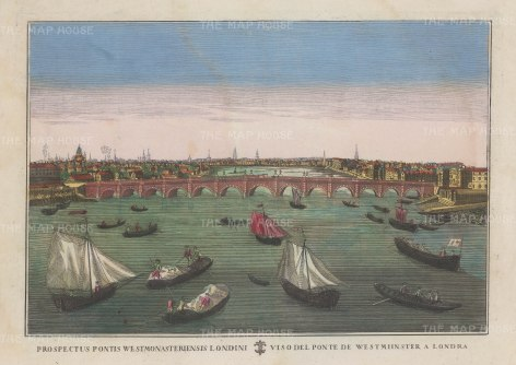 Perspective view over Westminster Bridge: Looking northwards with Whitehall on the right and Lambeth on the left. Based upon an earlier Vue d'Optique.