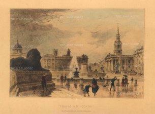 "Art Journal: Trafalgar Square. 1888. A hand coloured original antique steel engraving. 10"" x 6"". [LDNp10321]"