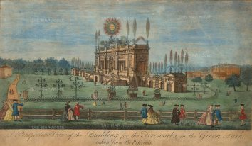 Green Park. Fireworks display designed by Giovanni Servandoni in 1749 to celebrate the Treaty of Aix-le-Chapelle.