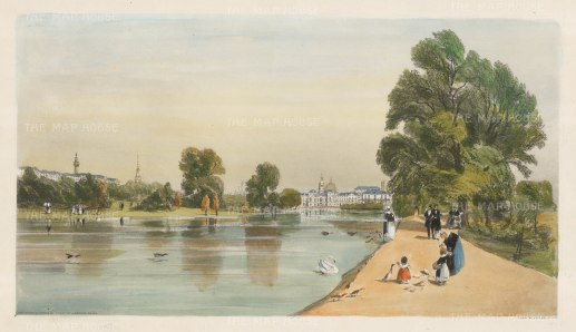 Horseguards from St. James's Park. Showing Carlton House Terrace, the Duke of York's column, the Admiralty Telegraph and shadow of St Paul's Cathedral in the distance.