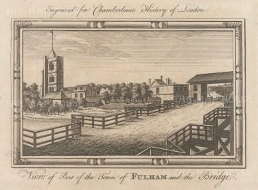 """Chamberlain: Fulham. 1773. An original antique copper engraving. 7"""" x 6"""". [LDNp10530]"""