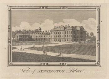 "Chamberlain: Kensington Palace. 1773. An original antique copper engraving. 7"" x 6"". [LDNp10532]"