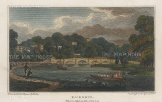 "Hughson: Richmond Bridge. 1805. A hand coloured original antique copper engraving. 6"" x 4"". [LDNp10539]"