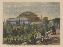 With the Albert Memorial and part of the Royal Horticultural Gardens (now Imperial College).
