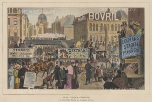 """Illustrated London News: Ludgate Circus. 1896. A hand coloured original antique wood engraving. 14"""" x 10"""". [LDNp10590]"""