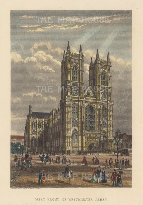 """Cassell: Westminster Abbey. c1883. A hand coloured original antique wood engraving. 6"""" x 8"""". [LDNp10662]"""